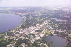 Clermont, FL downtown aerial view. stock photos