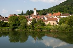 Clerval, France. Village Clerval and river Doubs in France Royalty Free Stock Images