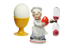 Clessidra ed uovo Fotografia Stock