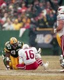 Cletidus Hunt of the Green Bay Packers sacks Jake Plummer of the Arizona Cardinals.  stock images