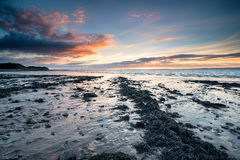 Clevedon Beach at Sunset. Sunset over the beach at Clevedon on the Somerset coast stock images