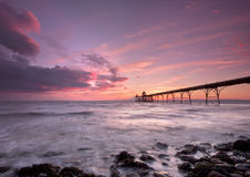Clevedon Pier sunset. Dramatic sunset at Clevedon Pier in Somerset, England, United Kingdom stock photo