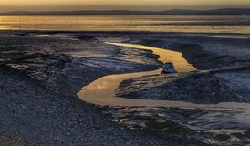 Clevedon sea sunset low tide boats Royalty Free Stock Photos