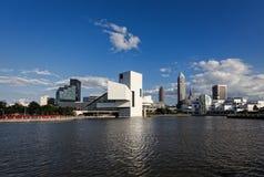 """Cleveland-†""""am 14. Juli: das Rock u. Rollenhall of fame vorbei entworfen Lizenzfreie Stockfotografie"""