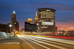 Cleveland. Image of Cleveland downtown at beautiful colorful sunrise stock photo