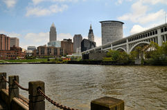 Cleveland across the river. Image of Cleveland across the cuyahoga river royalty free stock images