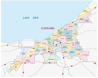 Cleveland administrative map Royalty Free Stock Photos