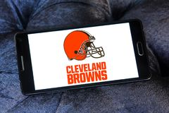 Cleveland Browns american football team logo. Logo of Cleveland Browns american football team on samsung mobile. The Cleveland Browns are a professional American Stock Image