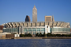 Cleveland Browns stadium. Seen late afternoon from Lake Erie Stock Images
