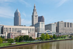 Cleveland Business District. A view of the commercial office buildings and skyscrapers that are part of downtown Cleveland, Ohio. In the foreground are the royalty free stock image