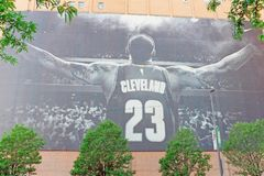 Cleveland Cavaliers Lebron James banner in downtown Cleveland, Ohio royalty free stock image