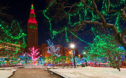 Cleveland Christmas. The Terminal Tower and Public Square in Cleveland Ohio colorfully lit up for Christmas Royalty Free Stock Photos