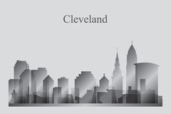 Cleveland city skyline silhouette in grayscale Stock Photo