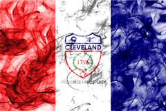 Cleveland city smoke flag, Ohio State, United States Of America.  Stock Photo