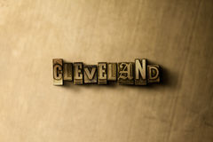 CLEVELAND - close-up of grungy vintage typeset word on metal backdrop Stock Images