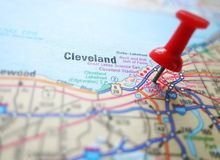 Cleveland. Closeup of a map of Cleveland Ohio with red push pin stock photos