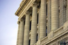Cleveland courthouse. Architectural details of Cleveland courthouse building showing classical style columns, Ohio, U.S.A stock photography