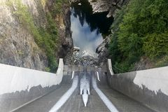 Cleveland Dam spillway in North Vancouver, Canada. On Capilano river stock image