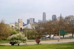 Cleveland del centro da lontano   Fotografie Stock Libere da Diritti