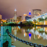Cleveland downtown on cloudy day Royalty Free Stock Photos