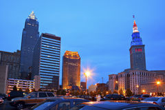 Cleveland downtown evening time Royalty Free Stock Photo