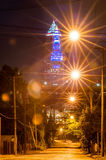 Cleveland downtown street view at  night Stock Photography