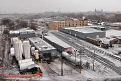 Cleveland en invierno imagen de archivo