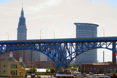 Cleveland Flats. A view of the DetroitSuperior bridges downtown Cleveland, Ohio, USA from an area along the Cuyahoga River known as The Flats. This area royalty free stock photo