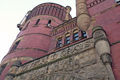 The Cleveland Grays Armory in downtown Cleveland, Ohio, USA. The exterior of the Cleveland Gray`s Armory, America`s oldest independent armory, shows its royalty free stock photos