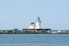 Cleveland Harbor West Pierhead Lighthouse. Navigation beacon marking the west side of the entrance to the harbor at Cleveland, Ohio on Lake Erie stock image