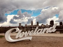 Cleveland has many script Cleveland signs - OHIO - CLE - CUYAHOGA. Cleveland is a major city in the U.S. state of Ohio, and the county seat of Cuyahoga County stock image