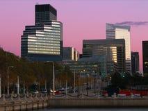 cleveland i stadens centrum skymning Fotografering för Bildbyråer