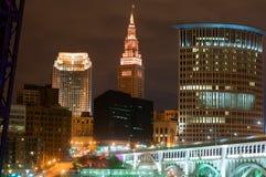 Cleveland iluminou-se acima Fotografia de Stock