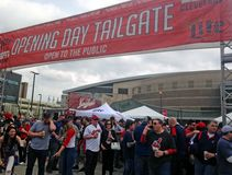 Cleveland Indians opening day tailgate party in Cleveland, Ohio, USA. Cleveland Indians baseball fans gather prior to the opening game in downtown Cleveland royalty free stock image