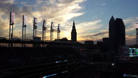 Cleveland Indians Sunset. Sunset over Progressive Field in Cleveland, Ohio royalty free stock photos