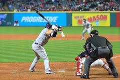 Cleveland Indians y el juego de Major League Baseball de los Seattle Mariners imagenes de archivo