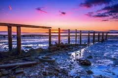 Cleveland jetty at sunset royalty free stock photography