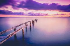 Cleveland jetty at sunset royalty free stock photo