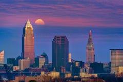 Cleveland księżyc w chmurach Zdjęcie Royalty Free