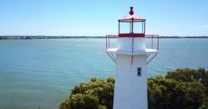 Cleveland Lighthouse in Cleveland, Brisbane. Cleveland lighthouse in the late afternoon. Brisbane, Queensland, Australia stock footage