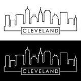 Cleveland linear skyline. Line art. royalty free illustration