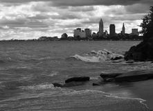 CLEVELAND SKYLINE - THE BEACHES OF THE WEST SIDE - OHIO - USA - GREAT LAKES. Cleveland is a major city in Ohio on the shores of Lake Erie. Landmarks dating to stock photo