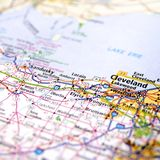 Cleveland map. A map with the focus on Cleveland, Ohio stock photos
