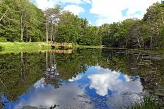 Cleveland Metroparks North Chagrin Reservation pond. The pond is located in the expansive Cleveland Metroparks greenspace system. An area with 4 very distinct stock photo