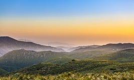 Cleveland nationalskog i solnedgång, Kalifornien Royaltyfria Bilder