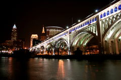 Cleveland At Night. The Cleveland Memorial bridge and skyline at night stock image
