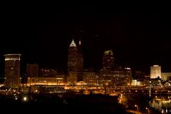 Cleveland Night 60. Cleveland Skyline at night with reflection in Cuyahoga river Royalty Free Stock Image