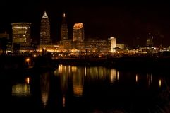 Cleveland Night 69. Cleveland skyline at night reflecting in Cuyahoga river Royalty Free Stock Photo