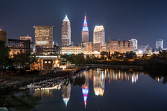 Cleveland Night Skyline. Cleveland city skyline and Detriot-Superior Bridge at night across the Cuyahoga river stock photography