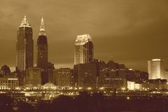Cleveland no Sepia Foto de Stock Royalty Free
